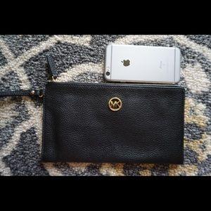 Michael Kors Bags - MICHAEL KORS Fulton Large Leather Clutch